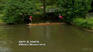 Amy and Maya punting (source: cbs.com)