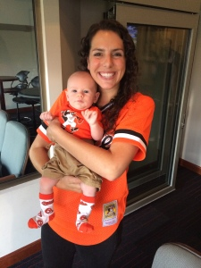 """My nephew and me at the Baltimore Orioles game (our favorite baseball team)"""