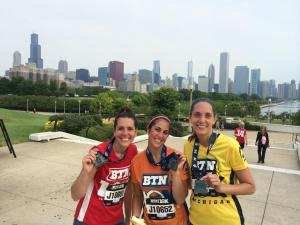 """My sister, her friend, and me after running the Big 10 10K in Chicago. Obviously I ran for Wisconsin :)"""
