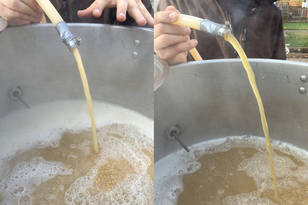 Before (left) and after (right) vorlauf