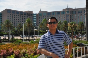 Jun enjoying a sunny day in  Moody Gardens, Galveston Island, Texas
