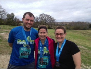 """Matt says """"I'm not a very good runner, or a very long one, but this picture was taken after the completion of my first half marathon, with some friends from work."""""""
