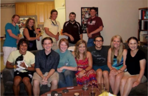 """Matt with Texas A&M freshmen, at an orientation program to welcome new Aggies called """"Fish Camp""""."""