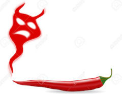 Chili pepper with devil shadow illustration