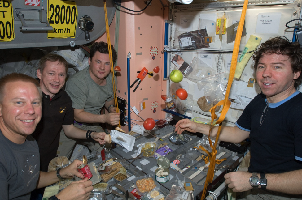 Source: http://www.universetoday.com/wp-content/uploads/2012/02/Expedition_20_crew_members_share_a_meal_at_a_galley_in_the_Unity_node_of_the_International_Space_Station_-_20090731.jpg